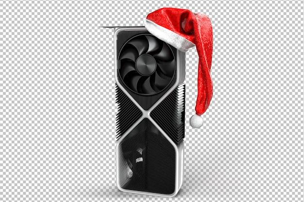 Placa de vídeo festiva. conceito de natal de tecnologia. renderização 3d