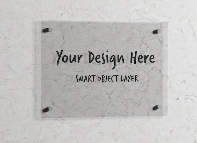 Placa de vidro para logotipo simulado