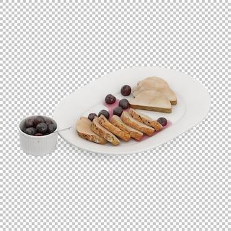 Placa isométrica com comida