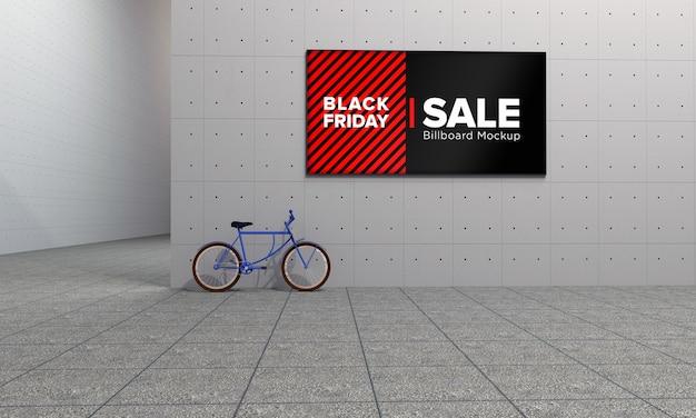Placa na placa de wall street mockup em shopping center com banner de venda da black friday