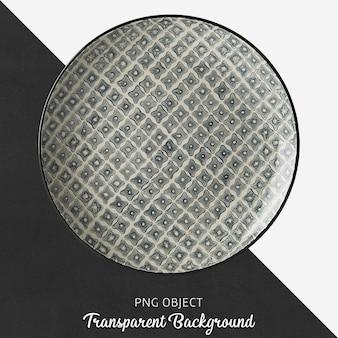 Placa redonda com padrão transparente, preto, cerâmica ou porcelana