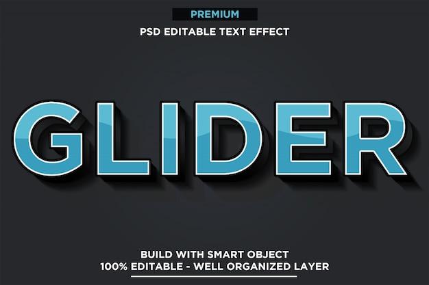Planador azul - modelos de efeitos de texto em estilo de fonte