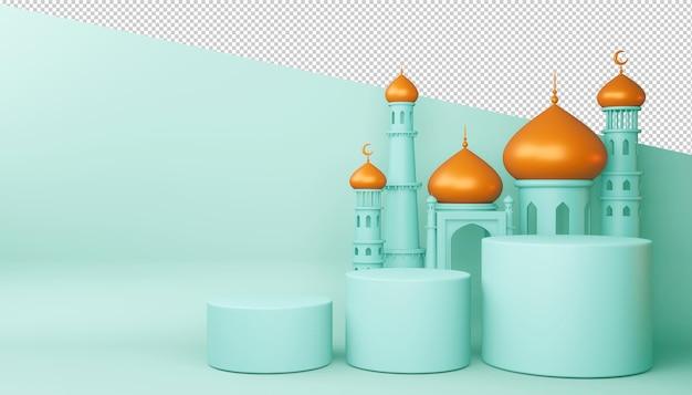 Plano de fundo ramadan kareem, construção de mesquita, renderização em 3d