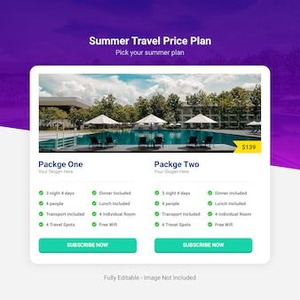 Plano de preços de viagens de verão