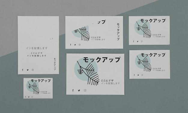 Plano de vários documentos de mock-up japonês