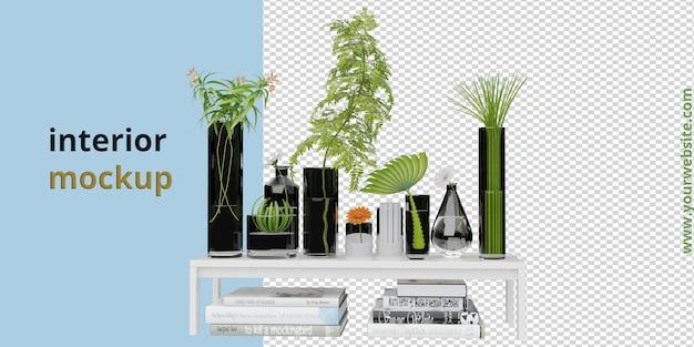 Planta com mesa e maquete de livro em renderização 3d
