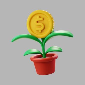 Planta de casa 3d em vaso com moeda de um dólar
