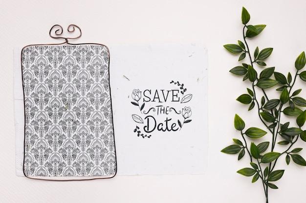 Planta e moldura elegante salvar a maquete de data