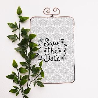 Planta e quadro de close-up para salvar a maquete de data