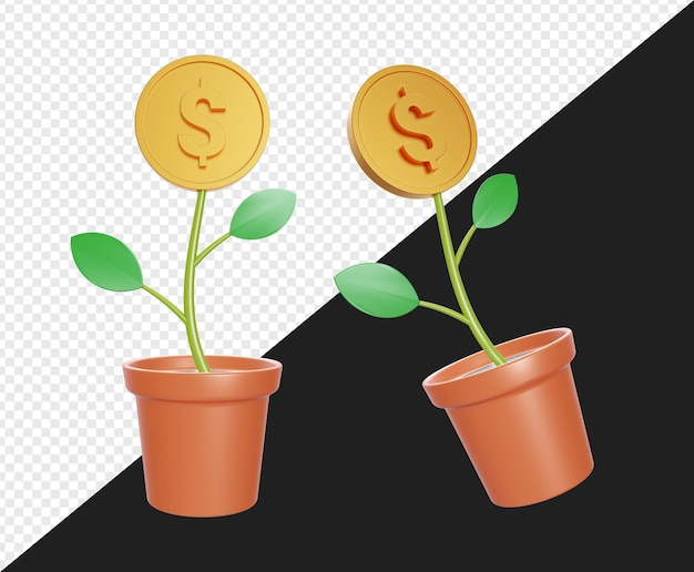 Planta em vaso 3d realista com dólar ouro isolado