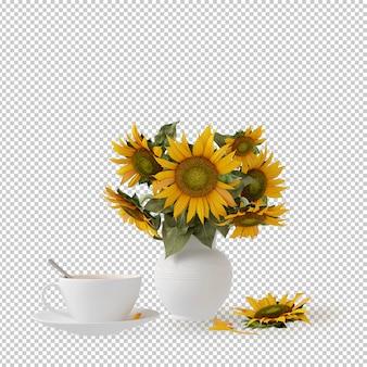 Planta isométrica em renderização em 3d pote