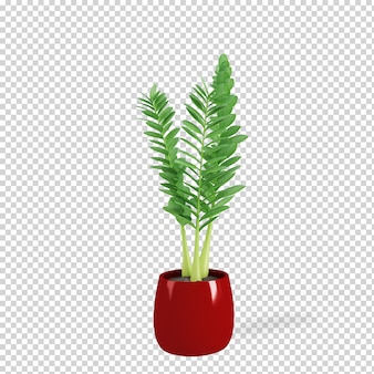 Planta isométrica em vaso renderização 3d