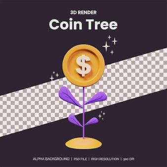 Plantar ilustração de crescimento de árvore de moeda de dinheiro para o conceito de investimento