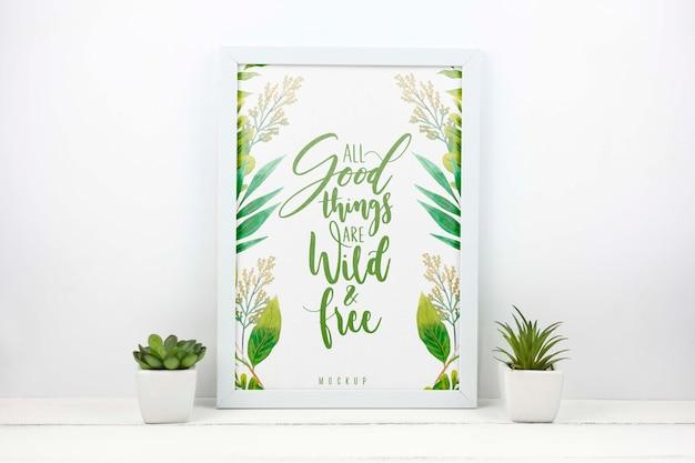 Plantas ao lado da maquete do quadro