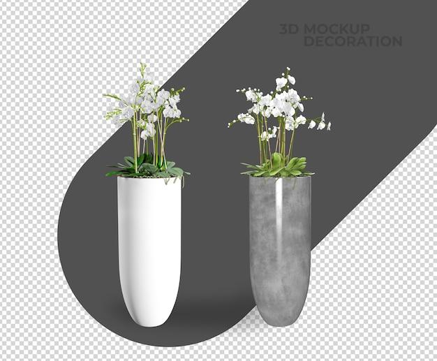 Plantas decorativas em vasos de renderização