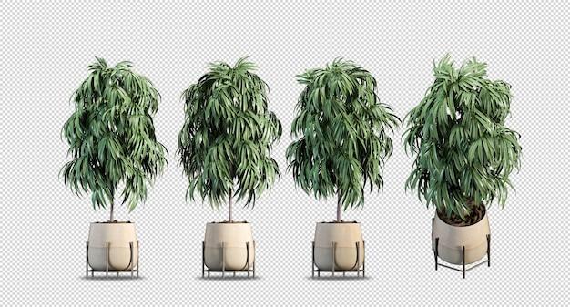 Plantas em vasos renderizados em 3d
