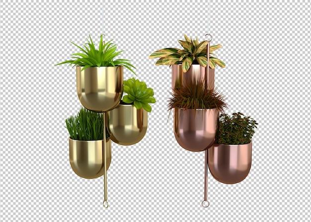 Plantas em vasos suspensos