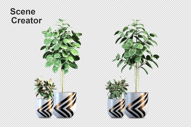 Plantas isométricas em vaso renderização 3d isoladas