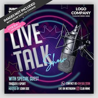 Podcast live flyer banner modelo de mídia social