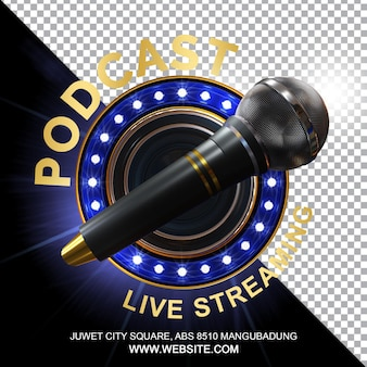 Podcast talkshow 3d render composition isolated