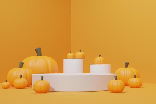 Pódio 3d com tema de halloween para apresentação do produto