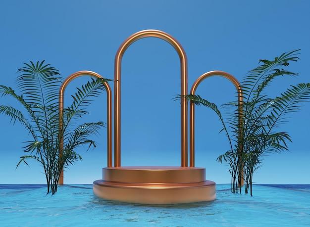 Pódio 3d dourado com anéis de ouro na água com fundo de maquete de plantas para apresentação do produto