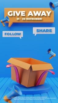 Pódio 3d e modelo de história de mídia social de concurso para doação de caixa