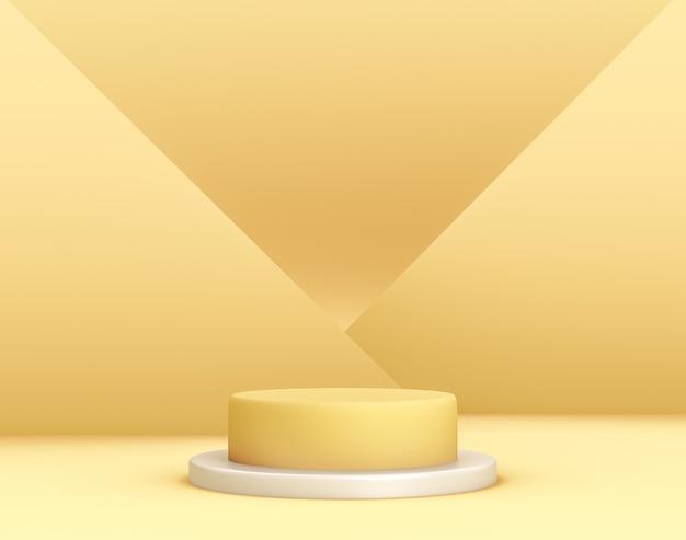 Pódio amarelo geométrico 3d para colocação de produtos com planos cruzados em segundo plano e cores editáveis