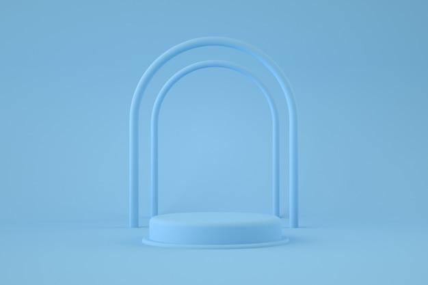 Pódio azul com arcos