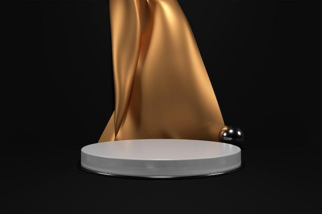 Pódio branco com cortinas douradas para renderização 3d de colocação de produto