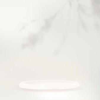 Pódio branco produto cenário psd com sombra de folha no fundo branco