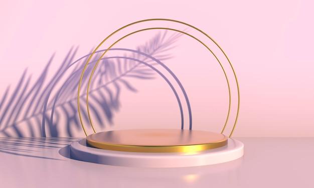 Pódio com folhas de palmeira em fundo pastel. vitrine de palco de cena de conceito