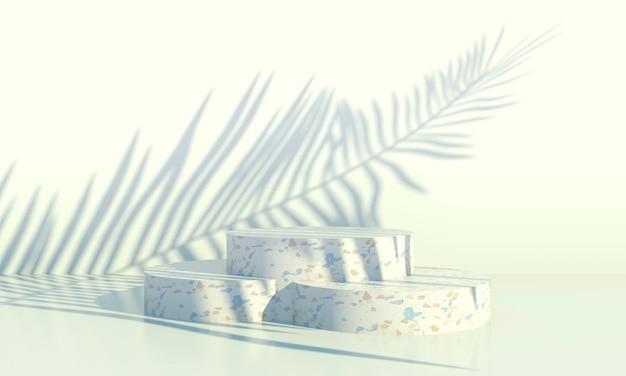 Pódio com folhas de palmeira em fundo pastel