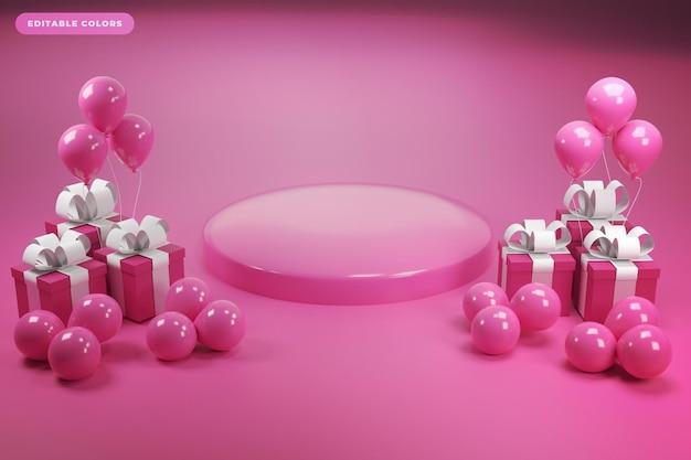 Pódio com renderização em 3d de dia de balão