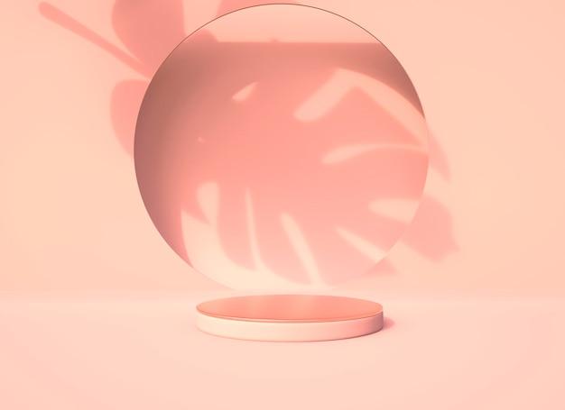 Pódio com sombra de folha de monstera e vidro circular