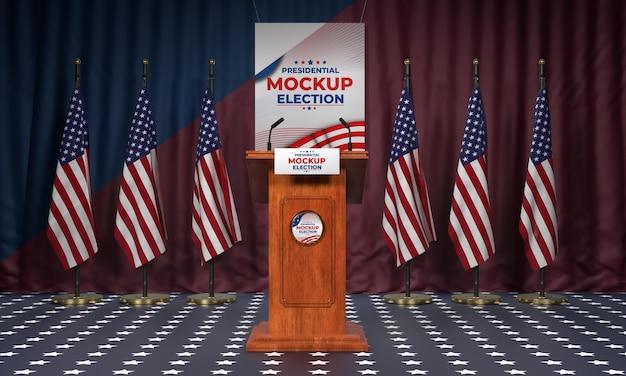 Pódio da eleição americana com bandeiras