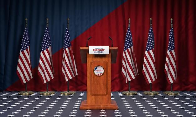 Pódio da eleição americana com maquete de bandeiras