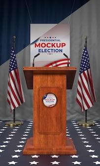 Pódio das eleições nos estados unidos com maquete de bandeiras
