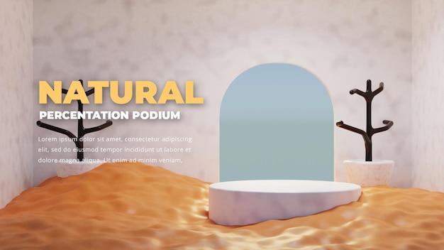 Pódio de areia natural, exposição de produtos