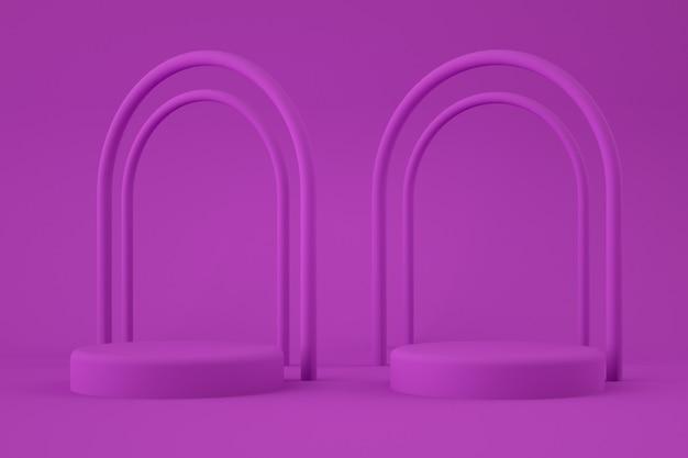 Pódio de círculo roxo com arcos