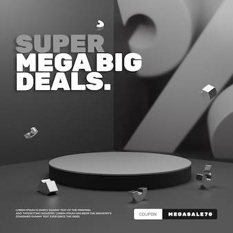 Pódio de desconto de venda 3d moderno e minimalista