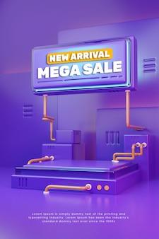 Pódio de exibição de produto 3d colorido roxo