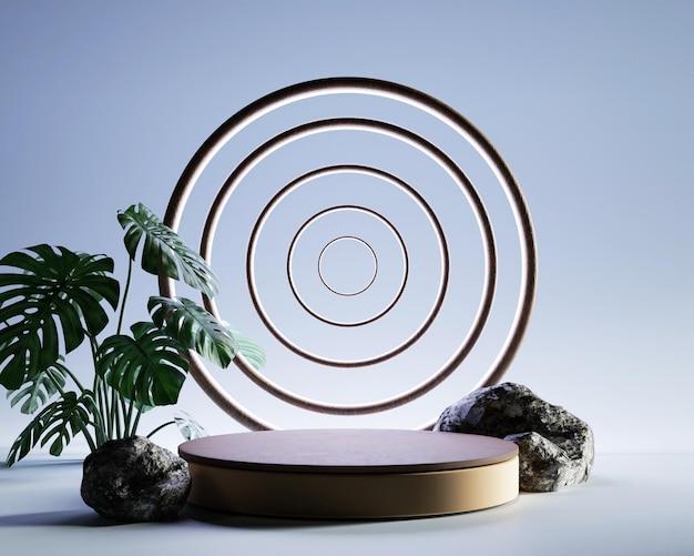 Pódio de exibição de produto abstrato renderizado 3d com folhas e formas