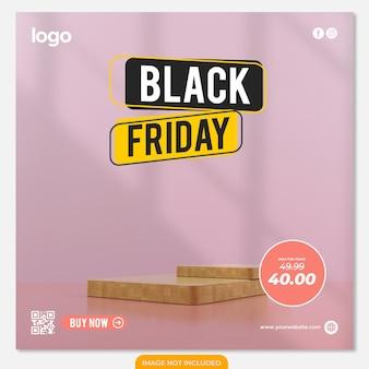 Pódio de exibição de produtos decorado na sexta-feira negra para mídias sociais de alimentos em fundo rosa