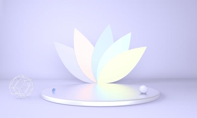 Pódio de exibição do produto decorado com folhas em fundo pastel em renderização 3d