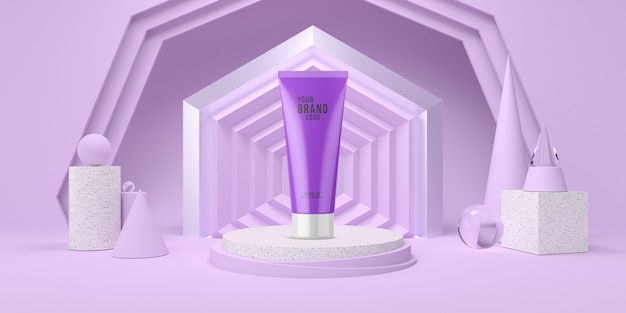 Pódio de exibição roxo abstrato com modelo cosmético de cor pastel de forma geométrica 3d render