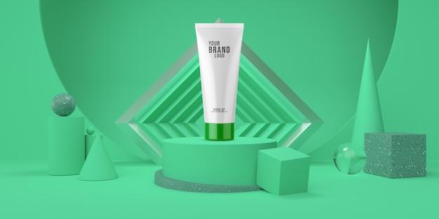 Pódio de exibição verde abstrato com modelo cosmético de cor pastel de forma geométrica 3d render