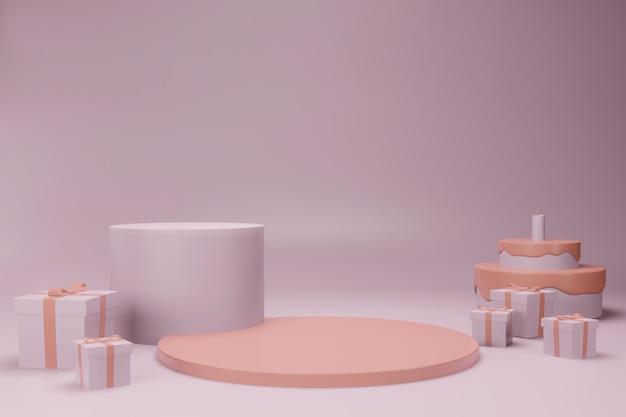 Pódio de maquete no conceito de aniversário
