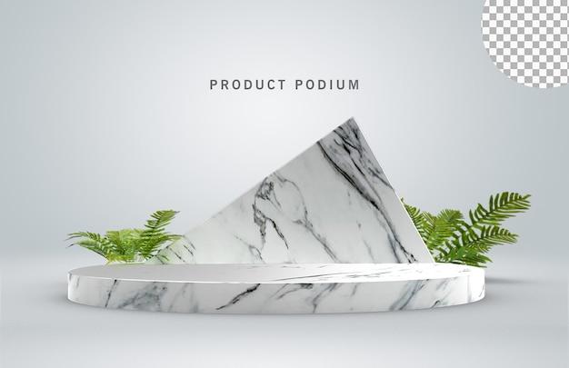 Pódio de mármore com folhas verdes