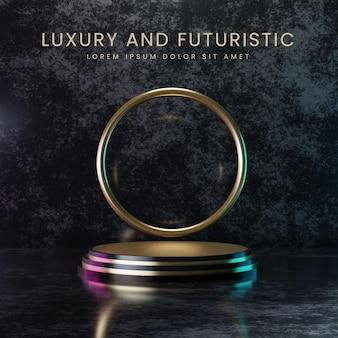 Pódio de ouro de luxo e futurístico